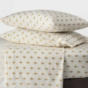 Threshold Flannel Floral Twin Sheet Set Gold Ivory Flowers 3 Pc