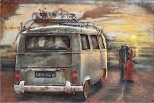 """Metall - Wandbild """"VW Bulli im Sonnenuntergang"""" VW T2"""
