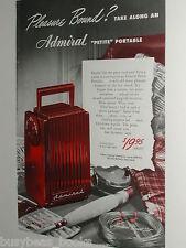 1948 Admiral Radio advertisement, Admiral Petite Portable Radio, color photo