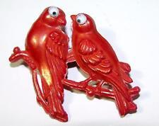 1950'S Vtg Hard Plastic Styrene Novelty Costume Jewelry Pin Red Iridescent Birds
