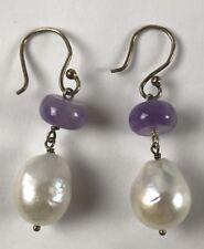 Freshwater Pearl Pierced Amethyst  Earring