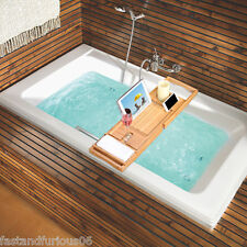 Bathroom Bamboo Bath Caddy Wine Glass Holder Tray Over Bath Tub Book Tab Support
