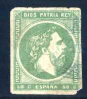 Sellos de España 1875 nº 160 r.verde 50 centimos Carlos VII sello matasellado