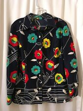 Vintage Handmade Polyester Button up Vibrant Flowers Groovy Mod Retro Shirt Top