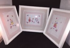 3 LAURA ASHLEY Quilted Pink & White Fairy Pictures. Wall Decor/Hanging.