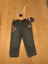 Baby B'gosh Embroidered Jeans W/ Suspenders, 9-12 Months, NWT
