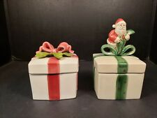 Fitz and Floyd Christmas Gift Boxes Santa Ribbons Trinket Candy Lot of 2