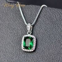 925 Sterling Silver Emerald Gemstone Birthstone White Gold Pendant Necklace
