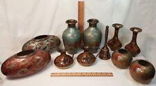 Vintage Brass Cloisonne Vase Collection - 11 pieces including Bell