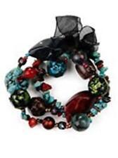 H2 Turquoise Tiger Eye Chip Beads Stretch BRACELET SET Bow