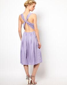 Kore by Sophia Kokosalaki Cross Back Midi Evening Dress in Purple Size S UK 10