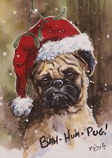 Bah Hum Pug. Pug dog Christmas cards pack of 10 by Paul Doyle C416x