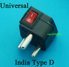 Universal UK US EU AU to India Type D Travel Adapter AC Power Plug with Switch