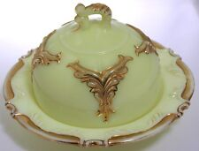 Heisey - No. 1280 Winged Scroll - Ivorina Verde - Butter with Cover