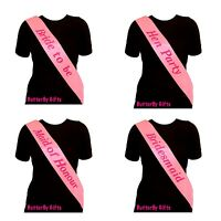 5 X PINK ELEGANT HEN PARTY SASH SASHES GIRLS DO NIGHT OUT WEDDING BRIDE MAID