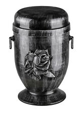 Steel Cremation Urn for Ashes with Rose Emblem Funeral Urn for Adult Memorial UK