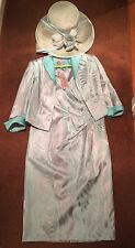 BNWT Cabotine Donna Mother Of The Bride Outfit With Hat Duck Egg & Silver Sz 14