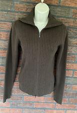 Calvin Klein Cotton Sweater Large Full Zip Brown Cardigan Long Sleeve Ribbed