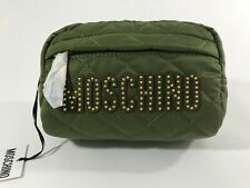 MOSCHINO Couture Jeremy Scott QUILTED GREEN BEAUTY CASE WITH GOLD STUDDED LOGO
