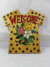 Vermont Handcrafted Welcome Sign Woodburned Tee Shirt Flow 00004000 ers Hanger Unique Ooak