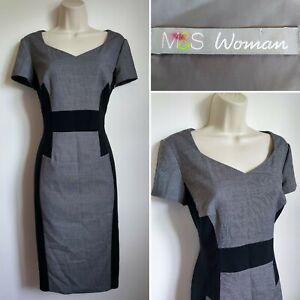 MARKS & SPENCER Grey Black Pencil Wiggle Dress 10 Smart Formal Work Office