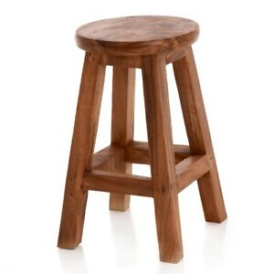 Solid Wood Stool/Lamp Table/Plant Stand/Rustic/Hand Carved/Waxed 50hx27x27cm