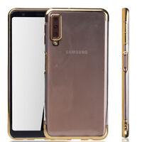 Funda Protectora Móvil para Samsung Galaxy A7 2018 Transparente Transparente Oro
