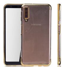 Téléphone Portable Étui Housse Coque Pour Samsung Galaxy A7 2018 Transparent Or