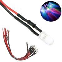S618 -10 Stück LED 5mm RGB mit Kabel für 9-12V Regenbogen Farbwechsel langsam