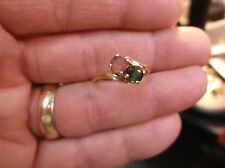 PRETTY LADIES VTG? 14K YELLOW GOLD RING WITH PINK & GREEN TOURMALINE GEMSTONES