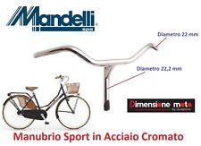 0115 - Manubrio Mandelli Parma in Acciaio Cromato per Bici 26-28 Corsa Vintage