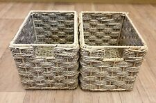PAIR OF WICKER RECTANGLE STORAGE BOXES X 2 FOR SHELVING COMPARTMENTS STORE