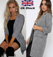 Women Check Hounds Tooth Tartan 3/4 Sleeve Duster Coat Ladies  Jacket Blazer Top