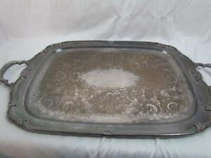 Large Silverplate Waiter Tray Remembrance 1847 Rogers Bros 22 In. Stamped 9898