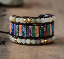 Natural Gemstone Amazonite Beaded Wrap | Cuff Bracelet Agate Turquoise Jasper
