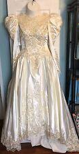 Gorgeous Ivory Satin Beaded 80s Wedding Dress - Size 14