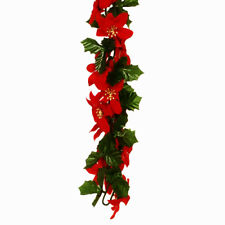 Poinsettia Holly Chain Link Christmas Garland Red Green Gold 6ft