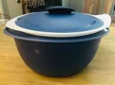 NEW TUPPERWARE LARGE INSULATED OVAL SERVER BOWLS MICROWAVE SAFE BLUE