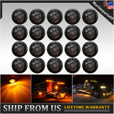 "20x Smoked Amber LED  Side Marker Lights Truck Trailer 3/4"" Bullet Light"
