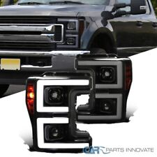 For 17-19 Ford F250 Black Smoke Projector Headlights w/Switchback Sequential LED