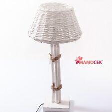 LAMPADA ABAT-JOUR in legno BIANCO da appoggio tavolo paralume VIMINI Shabby h61