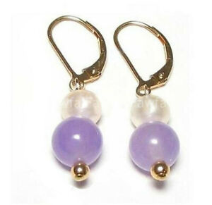 7-8mm White Pearl & 10mm Jade/Turquoise Round Gem Gold Leverback Dangle Earring