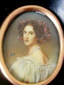 Pair Antique Portrait Miniatures of Ladies c1920