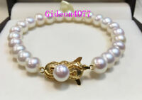 Stunning 8-8.5MM AAA+ Akoya WHITE PEARL BRACELET fine silver clasp