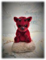 """4"""" Miniature Little Red Devil teddy Bear OOAK jointed Halloween Boulter Bears"""
