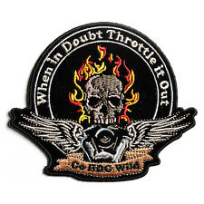 Embroidered Throttle it Out Skull Engine Sew or Iron on Patch Biker Patch