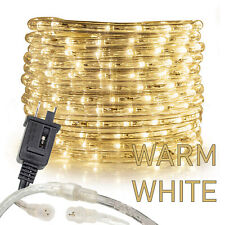 Warm White Rope Light 10' 25 50 100 150ft, Connectable Indoor Outdoor Waterproof