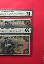 SHANGHAI -CHINA  2 CONSECUTIVE NOTES,1928 $10  BANK ,CERTIFIED 66 EPQ BY PMG.