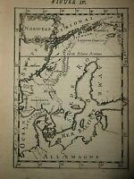 1683 COPPER ENGRAVING A. M. MALLET MAP OF NORWAY EUROPE