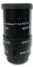 Manual IRIS ZOOM 5.5-33mm CS Mount Lens for CCTV Camera Industrial Microscope